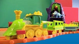 Поезд Динозавров. Игрушки для Детей. Мультфильм про поезд. мультфильм про динозавров
