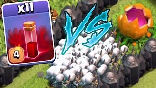 Clash Of Clans - 11 SKELETON SPELLS Vs. PUMPKIN MAZE BASE!! (Maze troll attacks!!)