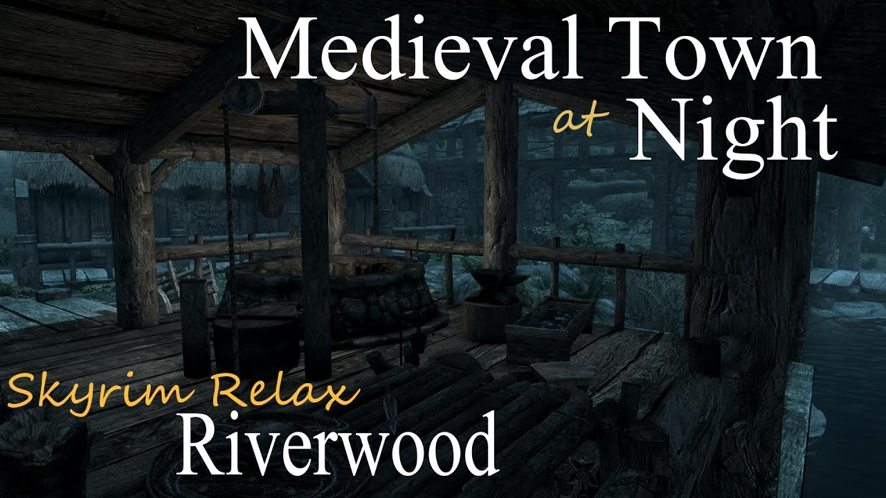 Medieval Town at Night • Skyrim Relax (ASMR) • Riverwood • Sleep Relaxation & Ambient Sounds