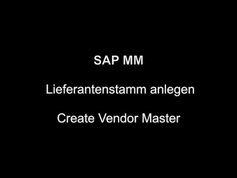 SAP MM - Create Vendor Master