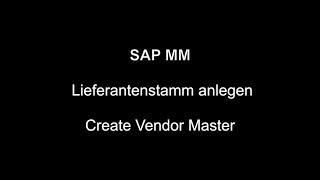 SAP MM - Satıcı Ana Oluşturun