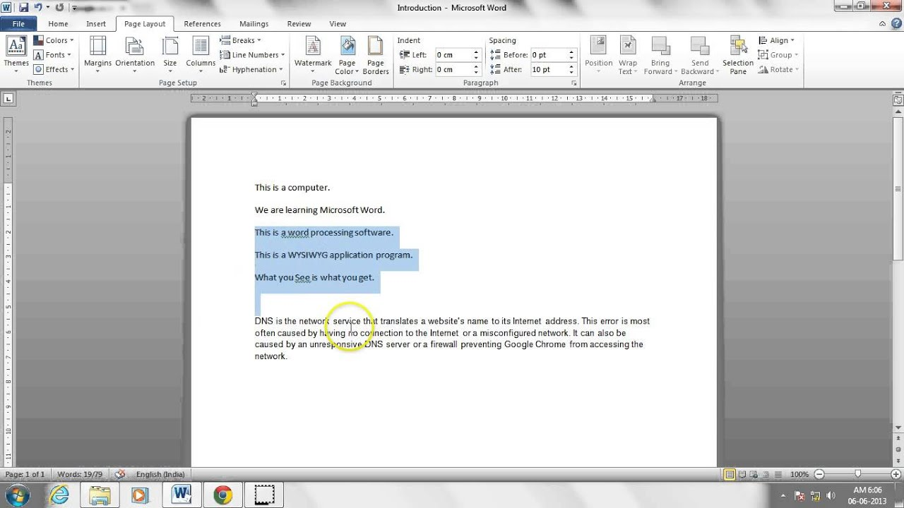 Editing documents in MS Word (Hindi) (हिन्दी)