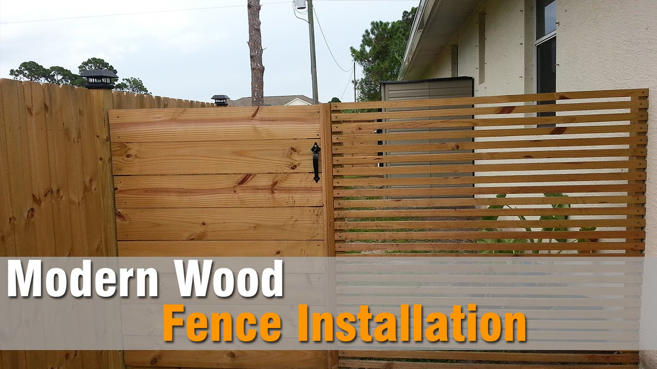 Modern Wood Fence Installation - YouTube