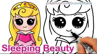 How to Draw Disney Sleeping Beauty Aurora Cute step by step