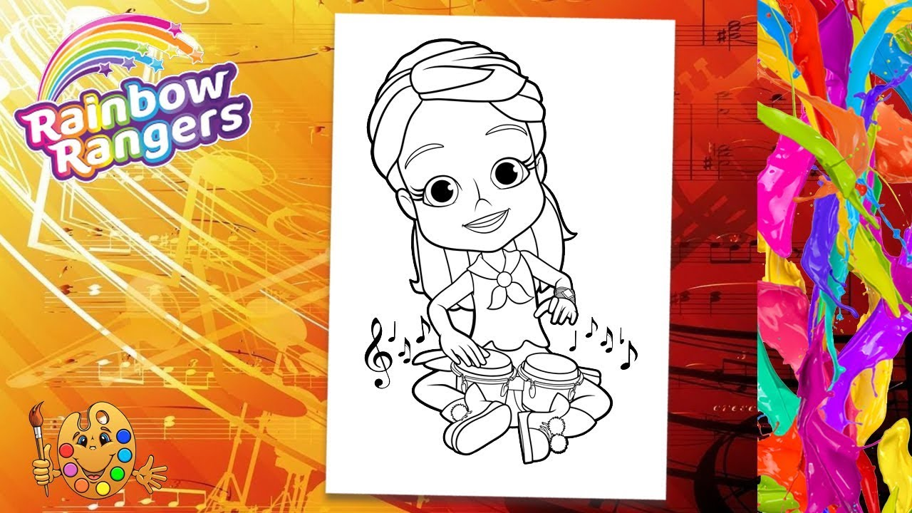 Rainbow Rangers Mandarin Orange Mandy Plays Drums Coloring Pages For Kids Coloring Book