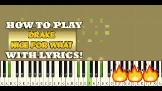 Drake - Nice For What Easy Piano Cover   Learn to play with half speed version