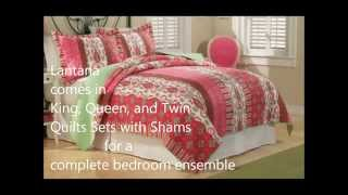 Lantana Lime Green and Hot Pink Floral Quilts Collection