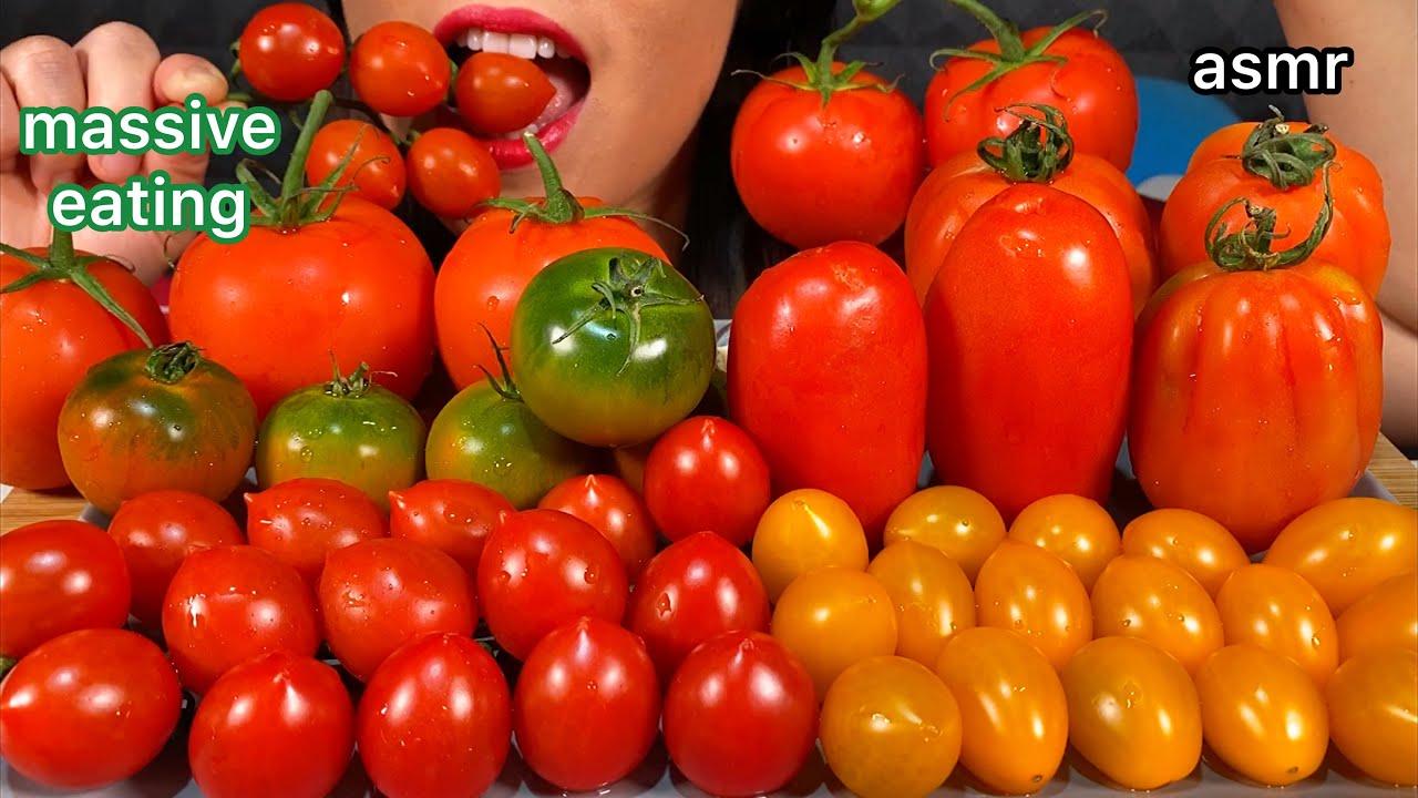 ASMR MASSIVE EATING TOMATOES PLATTER 먹방 Real Sounds