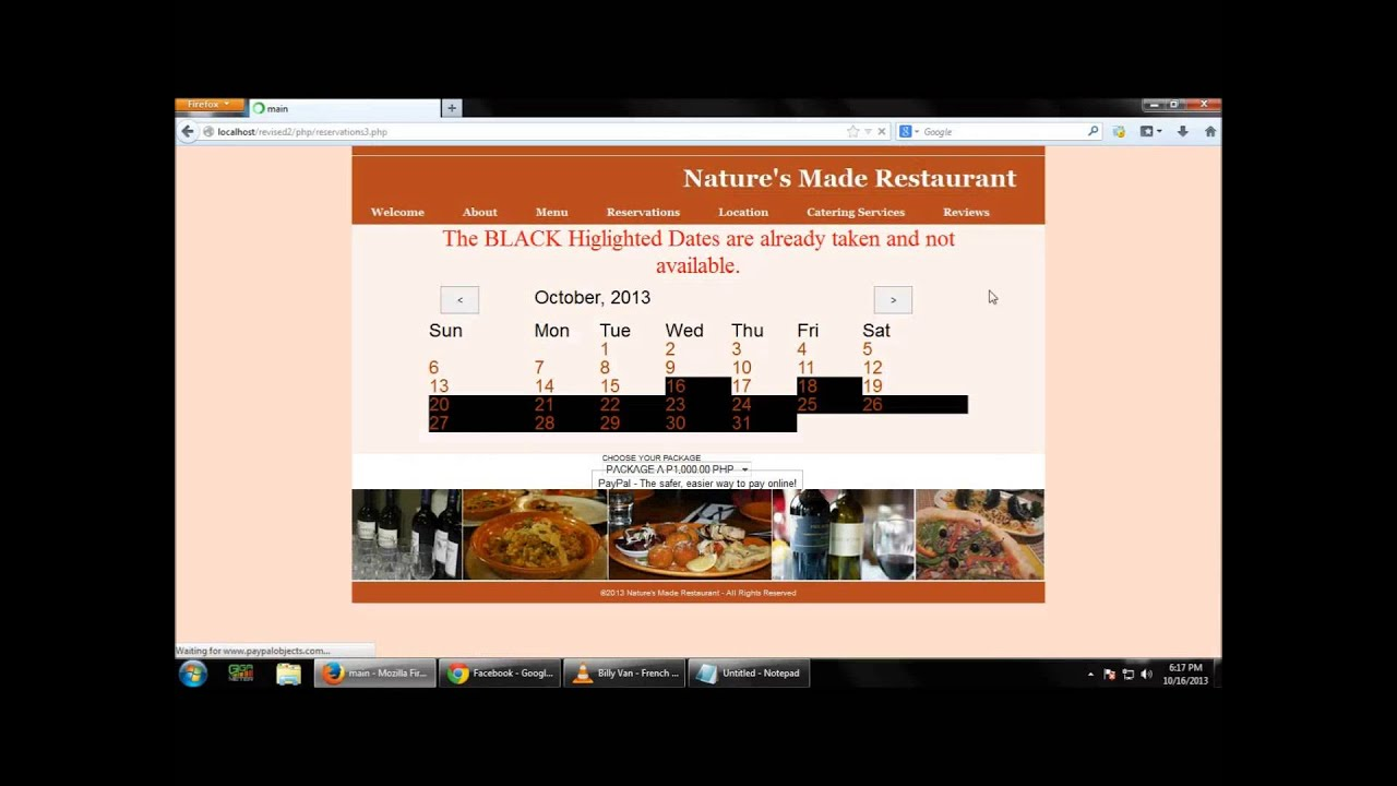 Restaurant reservation system using html css php
