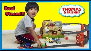 Ryan plays with Thomas and Friends Trackmaster Volcano Drop Playset