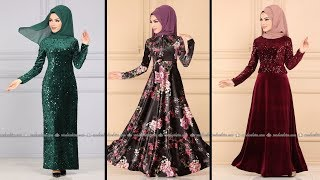 2020 Trend Kadife Modaselvim Elbise Modelleri 4-4   Kadife Tesettür Elbise Modelleri 2020