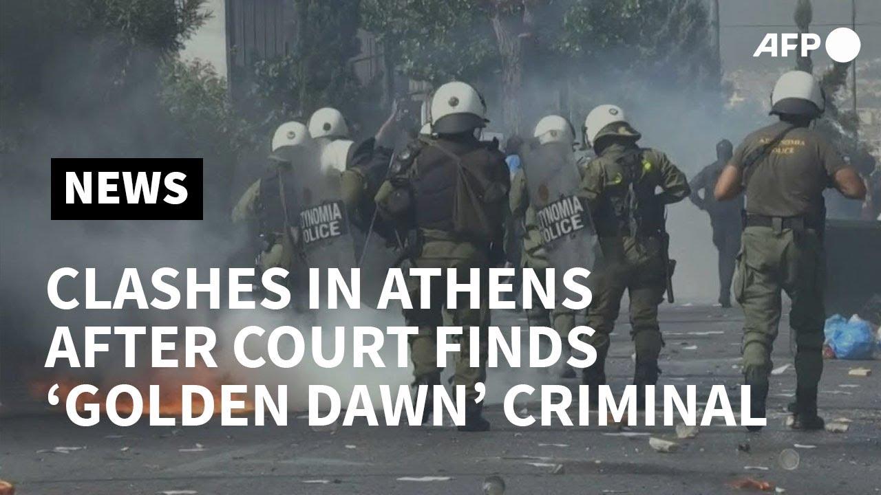 Download Clashes in Athens after court finds Golden Dawn 'criminal' | AFP