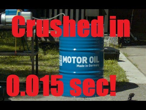 Download Youtube: Oil Barrel IMPLOSION in Super Slow Motion