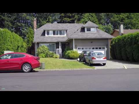 North Vancouver BC Canada - Big Hill On Highway - Driving Around Houses On North Shore