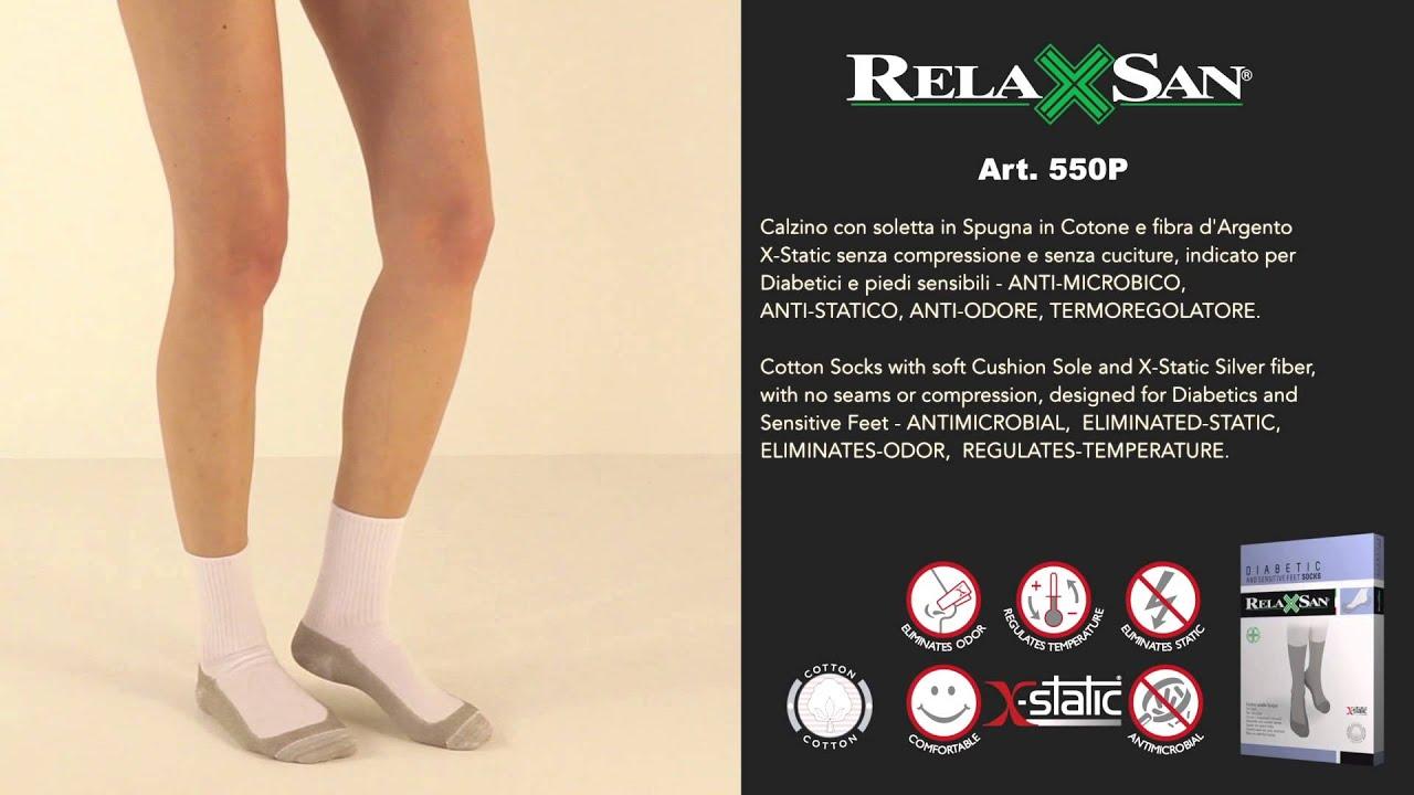 Relaxsan 550P Calzini massaggianti per diabete con fibra dargento e soletta in spugna