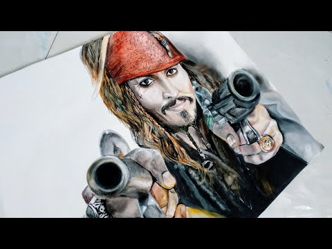 Captain jack sparrow portrait painting/pirates of the Caribbean background theame music#Clip 3