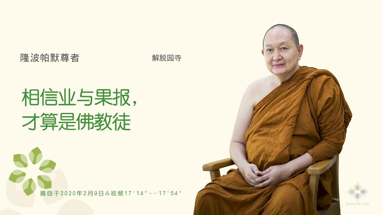 """""""相信业与果报,才算是佛教徒"""" 隆波帕默尊者, 解脱园寺,2020年2月9日A"""