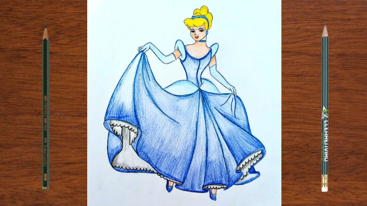 Cinderella Pencil Drawing Step by step | iqra easy Draw