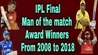 IPL Final Man of the match Award Winners From 2008 to 2018 | by HS Sports 13
