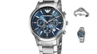 emporio armani men s ar2448 classic blue dial chronograph watch