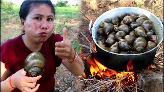 Yummy Cooking snails by woman at Rice field  - Eating snails delicious - Cooking food EP01