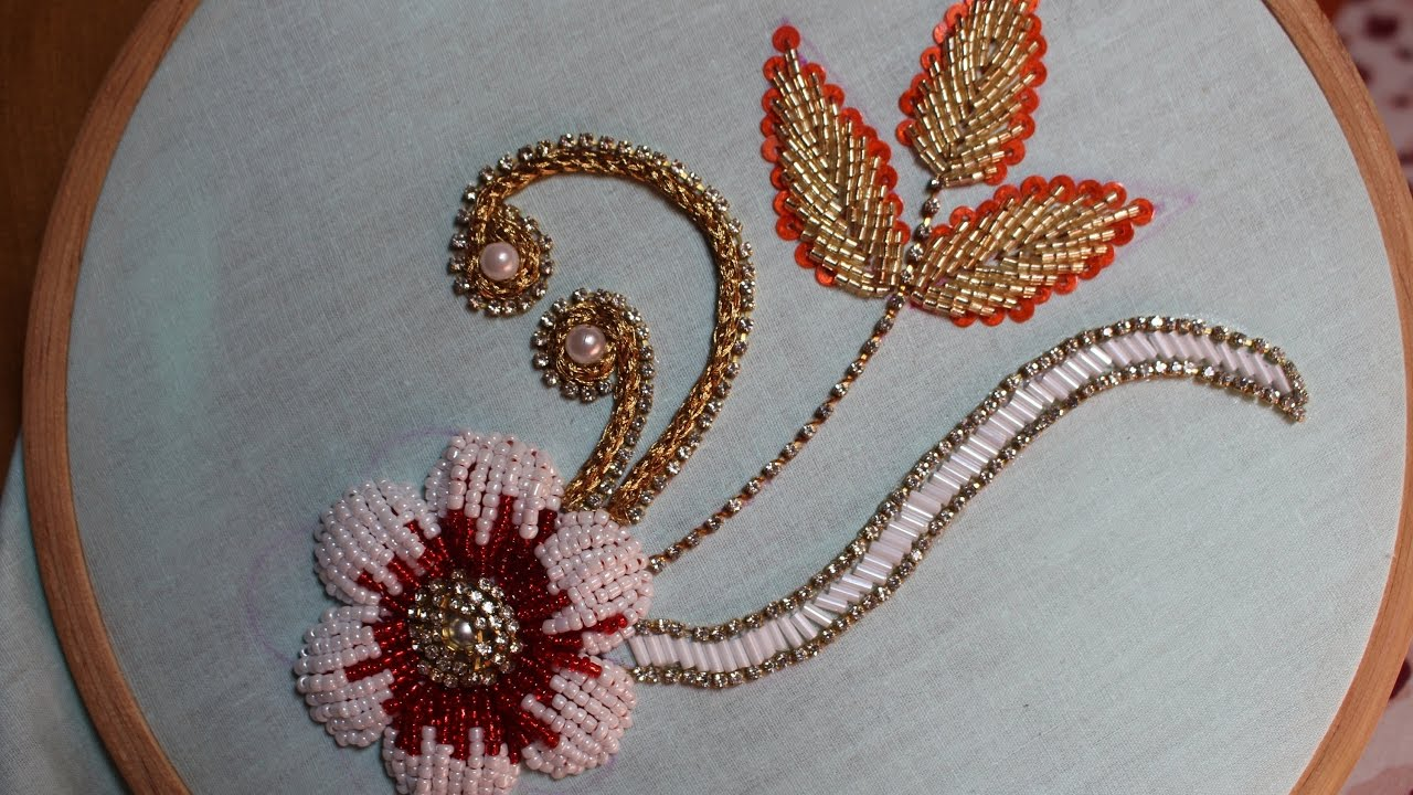 Hand Embroidery Designs | Bead Embroidery | Stitch And Flower-127 - YouTube