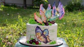 """🎨Торт """"Бабочки"""" 🦋МК вафельные бабочки ( English Subtitles ) - Я - ТОРТодел!"""