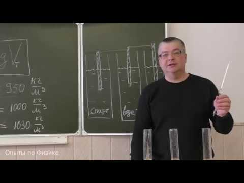 Плотность вещества. Ареометр. Опыт. Физика 7 класс