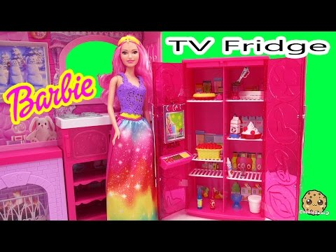 Thumbnail: Barbie Doll Treats To TV Pink Refrigerator Playset with Play Food and Fridge TV Cookieswirlc Video