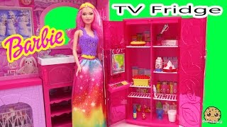 Barbie Doll Treats To TV Pink Refrigerator Playset with Play Food and Fridge TV Cookieswirlc Video