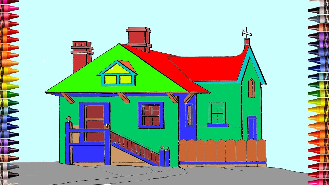 Baby coloring villa house coloring pages video for kids learning colors