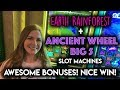 AWESOME! FIRST BONUS on Ancient Wheel + Both Bonuses on Earth Rainforest Slot Machine!
