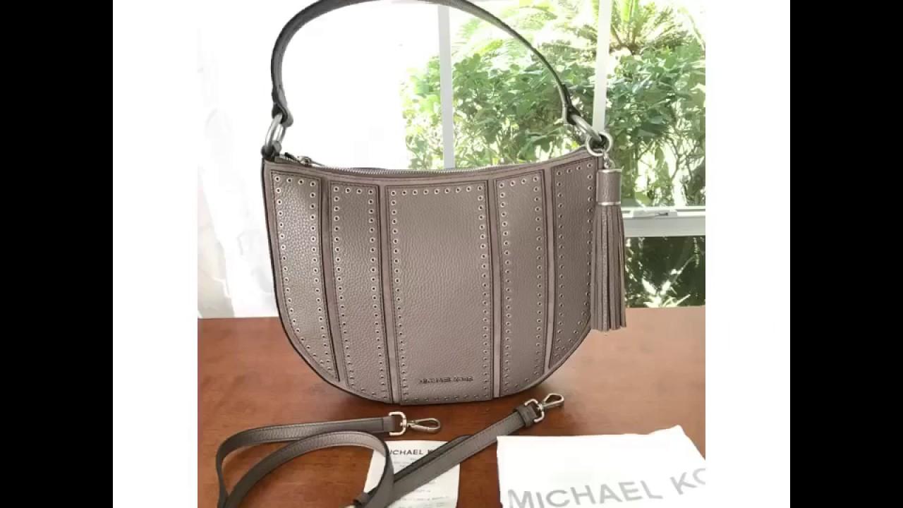 aee4234c9858 Michael Kors Brooklyn Mini Grommet Medium Hobo Shoulder bag-Cinder ...