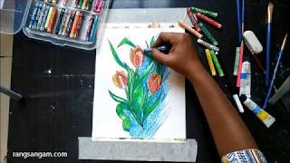 How to paint Tulips with Oil Pastels | Easy Painting Series for Kids