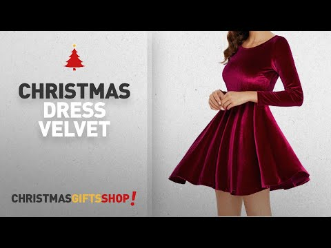 Top Christmas Dress Velvet Ideas: Annigo Women's Red Velvet Mini Flared Cocktail Dresses with