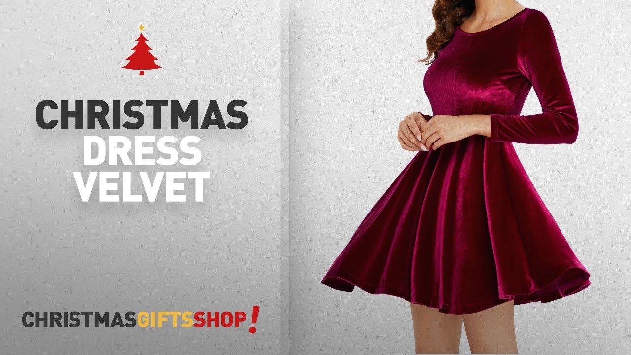 e53dfdd311f2 Top Christmas Dress Velvet Ideas: Annigo Women's Red Velvet Mini ...