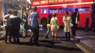 London bus accident. Girls nightout went wrong. Bus stuck in Soho side street