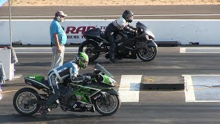 WOW! That was fast!!!Turbo Hayabusa vs Kawasaki Ninja-drag race