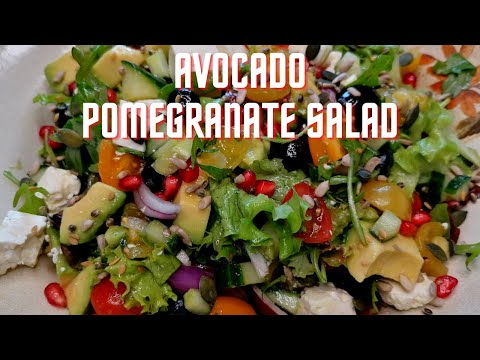 Super healthy Avocado Pomegranate Salad/How to make the best Superfood Salad/Greek style Salad