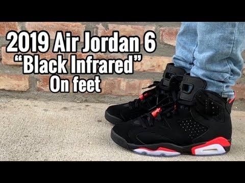 """206cf25a6a44db 2019 Air Jordan 6 """"Black Infrared"""" on Feet - YouTube"""