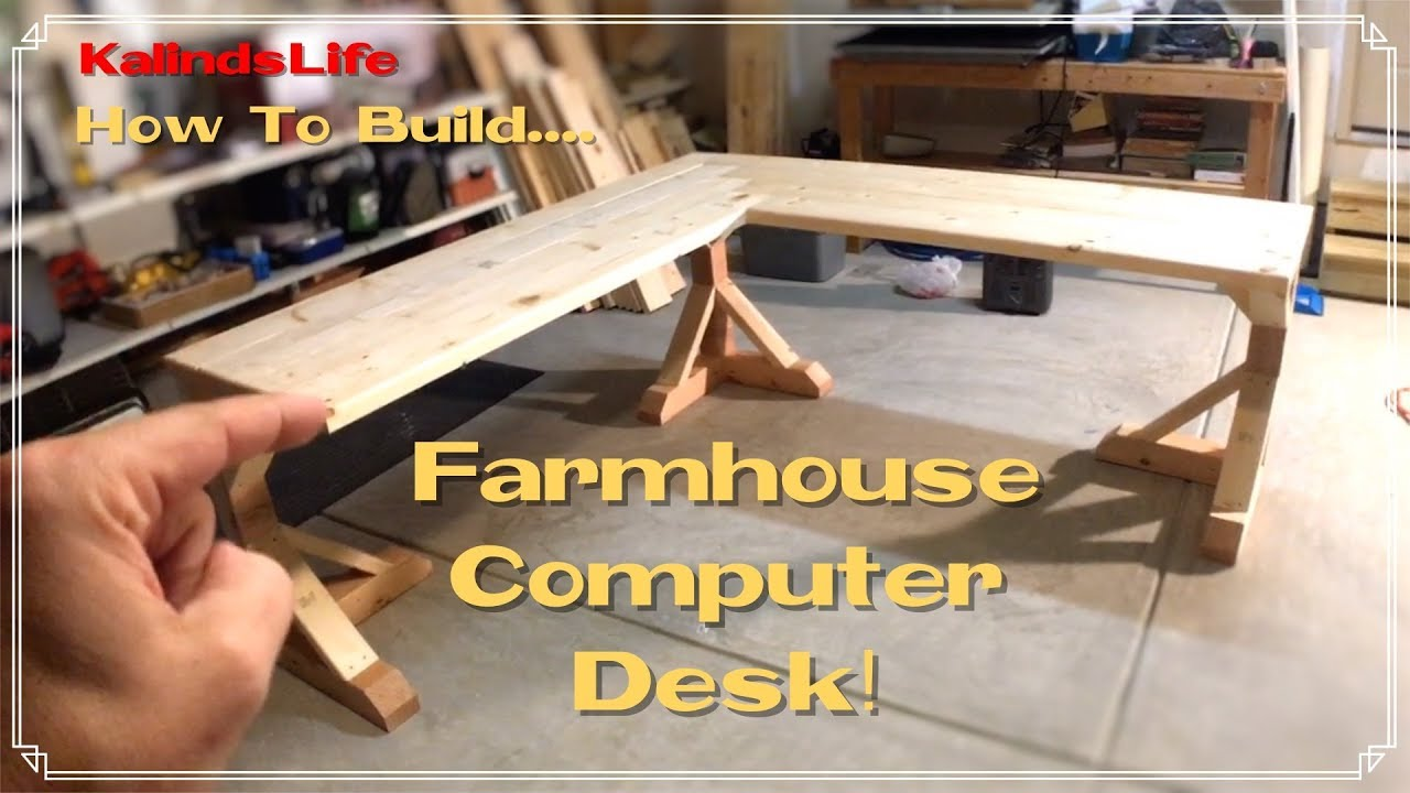 how to build this awesome farmhouse corner desk less than 100 youtube. Black Bedroom Furniture Sets. Home Design Ideas