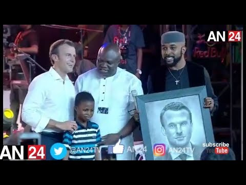 11 YEAR NIGERIAN BOY IMPRESSES FRANCE PRESIDENT EMMANUEL MACRON IN WITH ART WORK