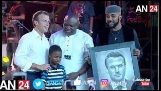 11 YEAR NIGERIAN BOY IMPRESSES FRANCE PRESIDENT EMMANUEL MACRON IN WITH ART WORK