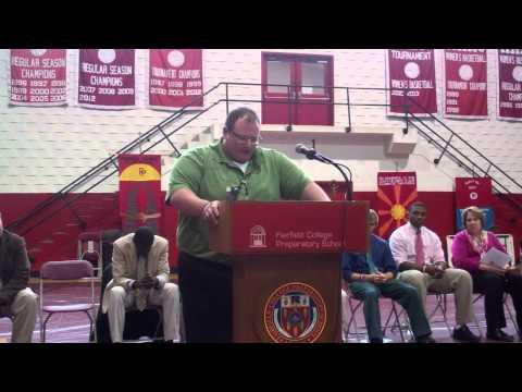 Michael Maggiore, Fairfield Prep Alumnus, speaks at Thanksgiving Assembly