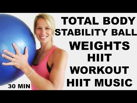 30 Minute Total Body Workout with Exercise Ball and weights, HIIT workout with weights
