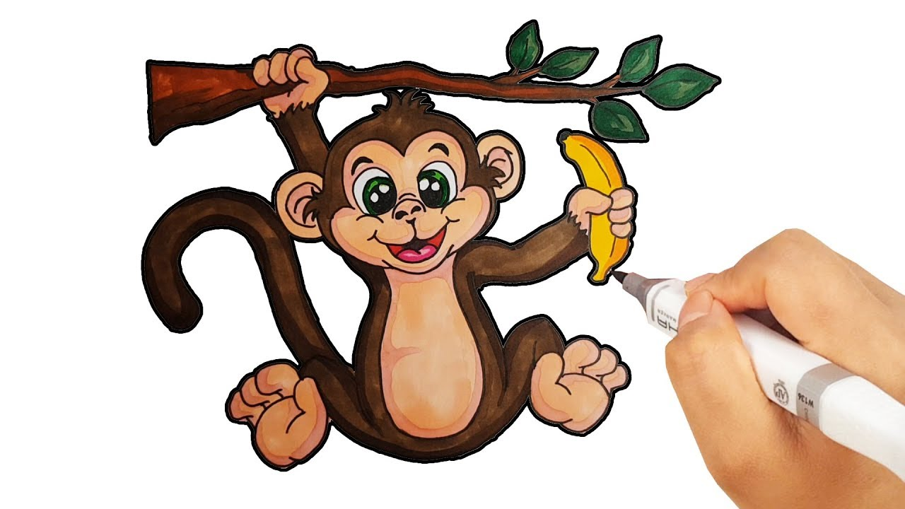 How to Draw Monkey Drawing with Colored Markers for kids ...