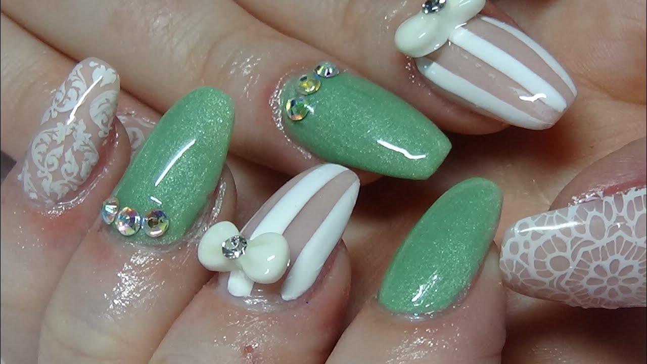 shabby chic acrylic nails using naio nails colours - YouTube