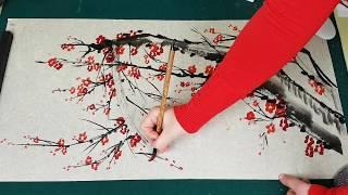 Акварель и Азиатская Живопись Как рисовать Слива мэйхуа видео урок plum blossom 梅花 매화 그림 그리기