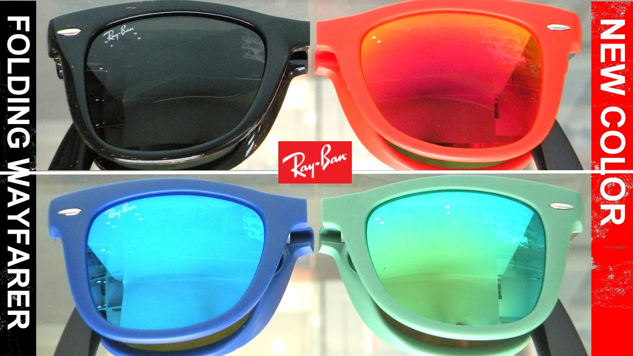 ray ban wayfarer colors  Ray Ban Folding Wayfarer New Color RB4105 - YouTube