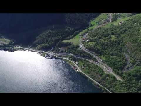 Dji Phantom 3 in light breeze over the fjords (Sognefjorden, Norway)